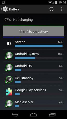 Takole nekako zgleda privzeta statistika porabnikov baterije
