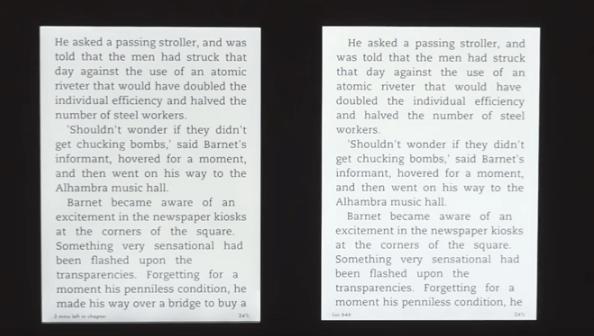 Slika 6: Ostrina slike je pri Kindle Paperwhite (levo) in Kindle Voyage (desno) enaka, občutno razliko pa je možno opaziti v kontrastu.