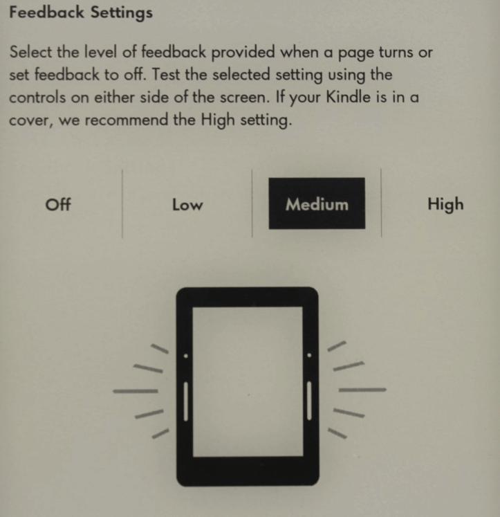 Slika 5: Jakost vibracije ob pritisku na PagePress gumbe se da pri Kindle Voyage nastavit ali pa jih v celoti izklopit