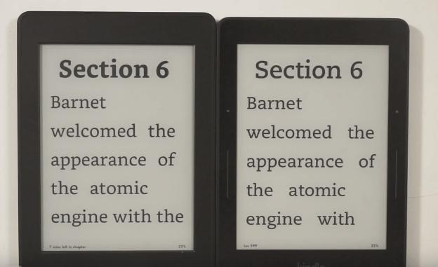 Slika 7: Kindle Paperwhite 3 (levo) ima tudi pisavo Bookerly, ki izpiše več besedila na zaslon kakor ostale pisave Kindle Voyage (desno -> pisava Caecillia)