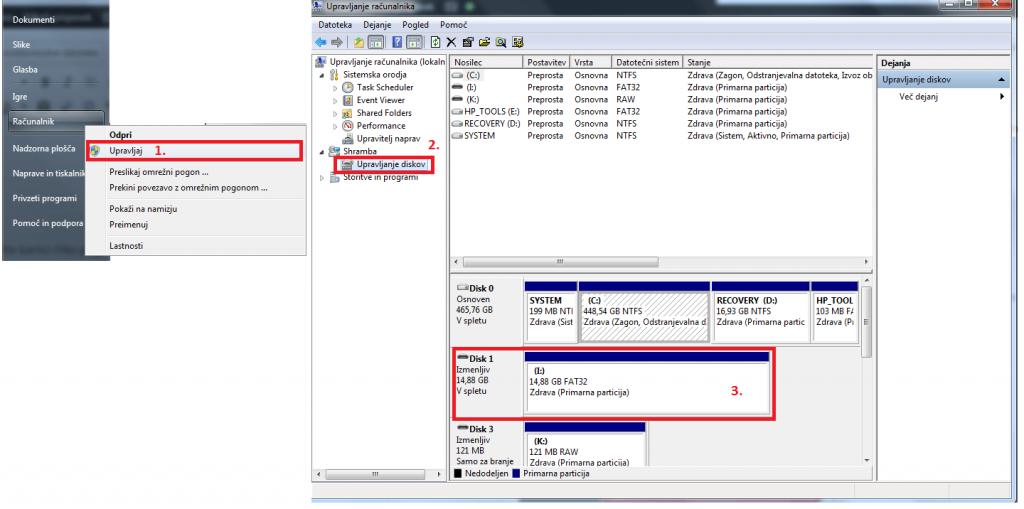 Postopek dodeljevanja nove črke v sistemu Windows