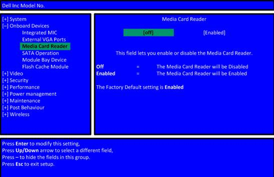 BIOS lahko onemogoci delovanje citalca kartic