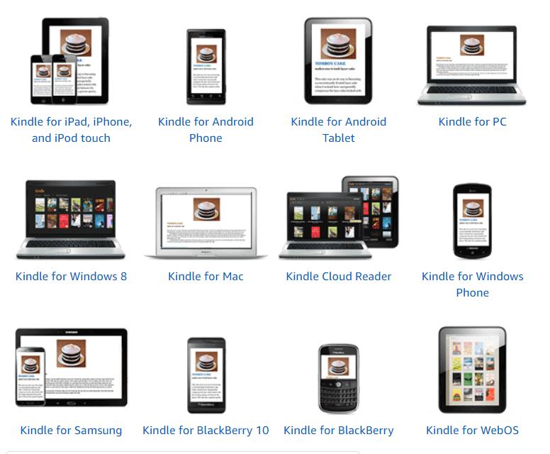 Seznam naprav, ki podpirajo Kindle app
