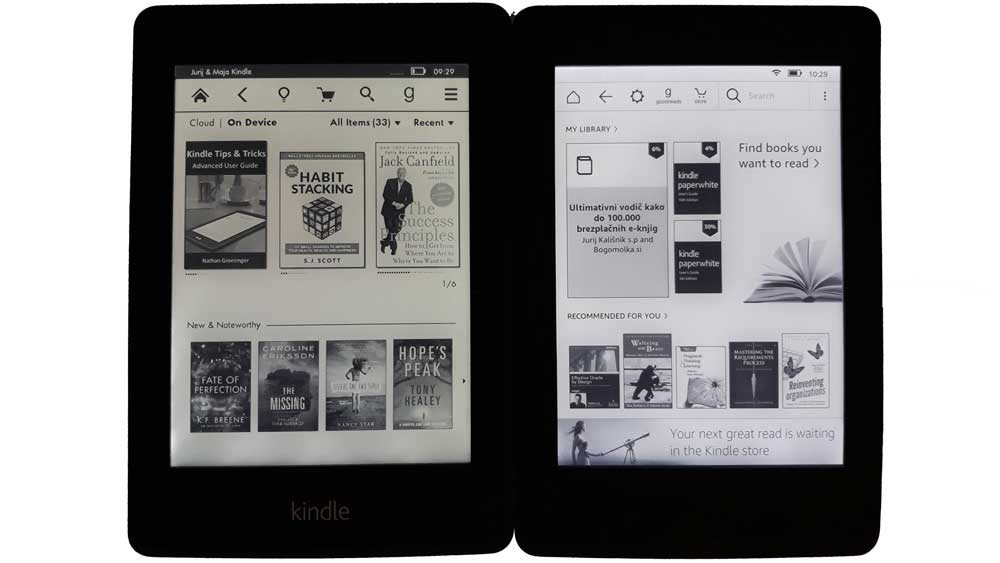 Začetni zaslon na Kindle Paperwhite-u 2 in 3 je zelo podoben