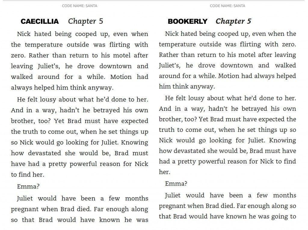 Pisava Bookerly na Kobo izpiše več besedila na isti površini