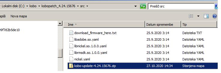 Prenesen firmware se nahaja v obliki datoteke ZIP